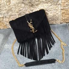 YSL Suede Leather Tassel 22cm Bag Black