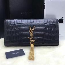 YSL Tassel Clutch 27cm Croco Leather Black Gold