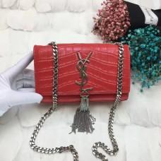 YSL Tassel Chain Bag 17cm Croco Red Silver