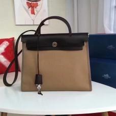 Hermes Herbag 31cm Khaki Canvas Bag