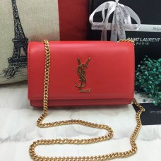 YSL Smooth Leather Chain Bag 22cm Red