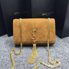YSL Tassel Chain Bag 22cm Suede Leather Camel