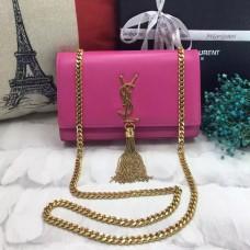 YSL Tassel Chain Bag 22cm Smooth Leather Rose Gold