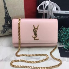 YSL Smooth Leather Chain Bag 22cm Light Pink