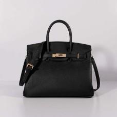 Hermes 30cm Birkin Bag Togo Leather with Strap Black Gold