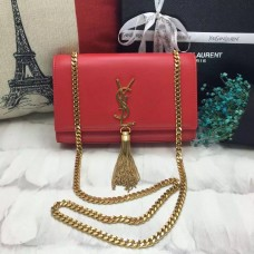 YSL Tassel Chain Bag 22cm Smooth Leather Red Gold