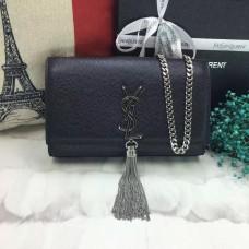 YSL Tassel Chain Bag 22cm Caviar Leather Black Silver