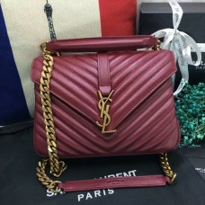 YSL Top Handle Shoulder Bag 24cm Dark Red Gold