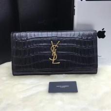 YSL Clutch 27cm Croco Leather Black Gold
