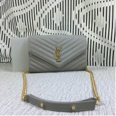 YSL Envelope Chain Bag Caviar Leather Grey 23cm
