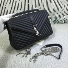 Saint Laurent Large Top Handle Chain Bag Black 32cm