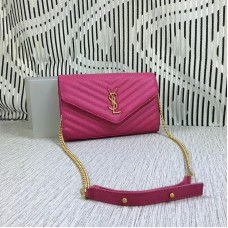 YSL Envelope Chain Bag Caviar Leather Rose 23cm