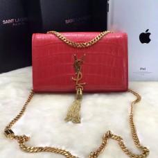 YSL Tassel Chain Bag 22cm Croco Red Gold