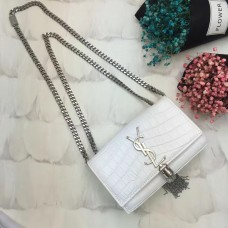 YSL Tassel Chain Bag 17cm Croco White Silver