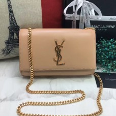 YSL Smooth Leather Chain Bag 22cm Apricot