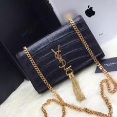 YSL Tassel Chain Bag 22cm Croco Black Gold