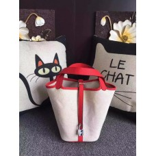 Hermes Picotin Lock Canvas Red