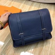 Hermes Steve Men Crossbody Leather Bag Dark Blue