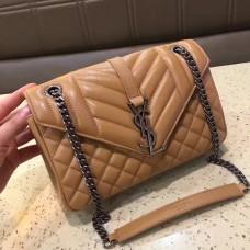 Top quality YSL Envelope Shoulder Bag 23cm Apricot