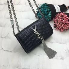 YSL Tassel Chain Bag 17cm Croco Black Silver