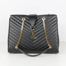 YSL Saint Laurent Monogram Shopping Bag Black