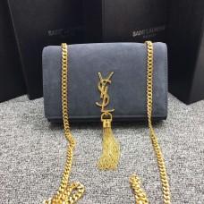 YSL Tassel Chain Bag 22cm Suede Leather Grey