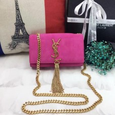 YSL Small Tassel Chain Bag 17cm Suede Leather Rose
