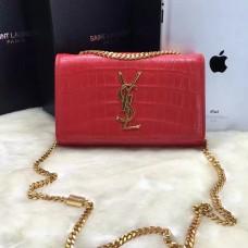 YSL Monogram Chain Bag 22cm Croco Red Gold