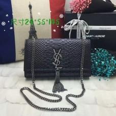 YSL Monogram Tassel Chain Bag 24cm Snake Black